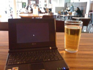 Working in the Surrey Student Union in the very early days - as evidenced by the ancient netbook. And yup, I am enjoying a beer while I work!